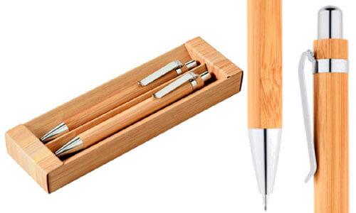 Set con penna a sfera e matita portamina con il tuo logo