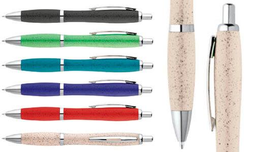 Penna a sfera in fibra di grano e ABS con clip promozionale