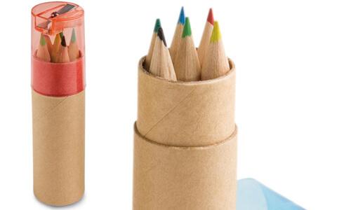 Scatola con 6 matite colorate ROLS personalizzabili