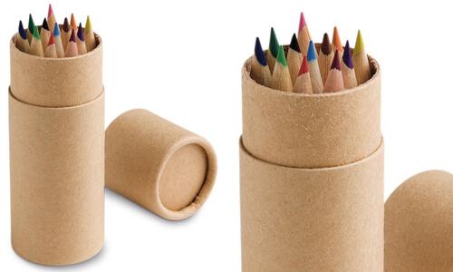 Scatola con 12 matite colorate CYLINDER personalizzabili