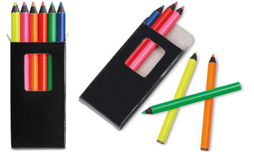 Scatola con 6 matite colorate base nera