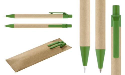 Set con penna a sfera e matita portamina LEAF promozionale
