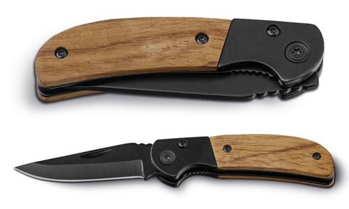 Coltello tascabile in acciaio e legno promozionale