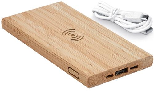 Batteria portatile in bambù stampa il tuo marchio