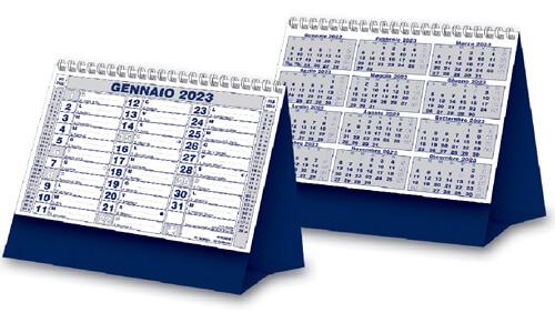 Calendario da tavolo trimensile con grafica blu e argento