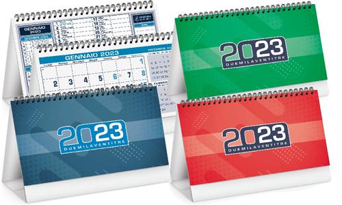 Calendario da tavolo con grafica in bicromia
