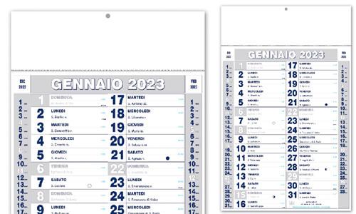 Calendario Olandese con grafica blu argento