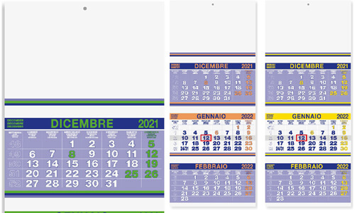 Calendari Murali trittici Trimestrali
