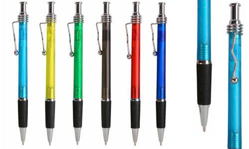 Penna a scatto fusto satinato con il tuo logo