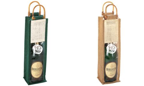 Porta bottiglie con manici in bamboo Stampa il tuo logo
