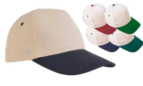 Cappellino  cotone naturale con visiera colorata