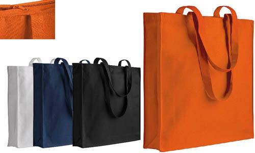 Shopper cotone chiusura con zip e soffietto