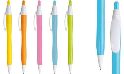 Penna a scatto in plastica con fusto colorato promozionale