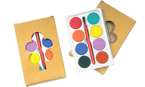 Set 8 acquarelli colorati in box cartone personalizzabile