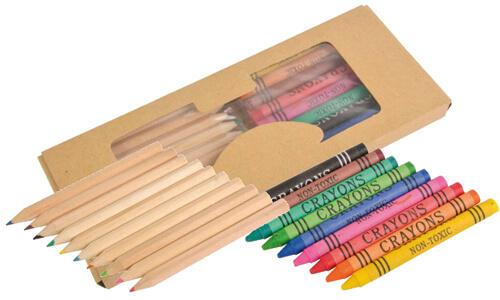 Set matite e pastelli con scatola personalizzata