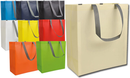 Shopper tnt laminato manici grigi a contrasto