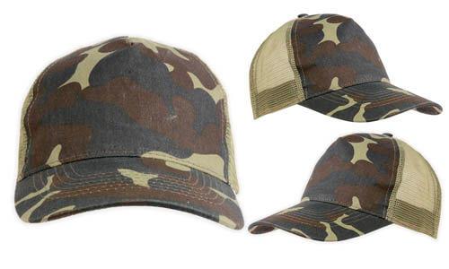 Cappellino in tessuto mimetico con rete promozionali
