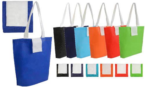 Shopper tnt pieghevole con bottone bicolore