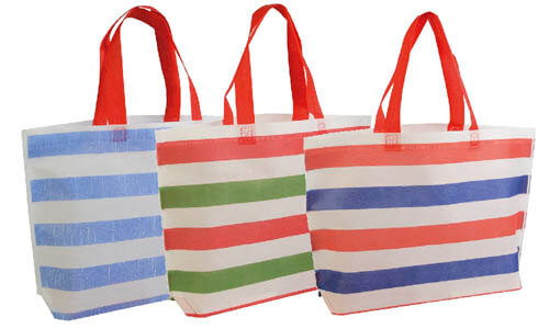 Shopper in TNT a righe colorate