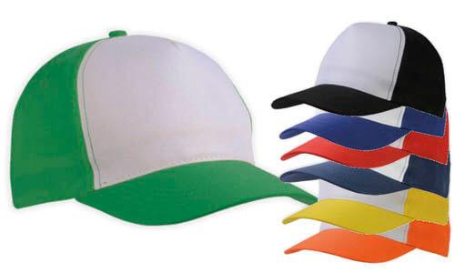 Cappellino bicolore a 5 pannelli poliestere