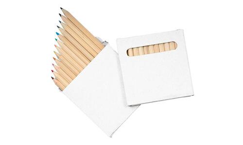 Set 12 matite colorate /scatola bianca stampabili con il vostro logo