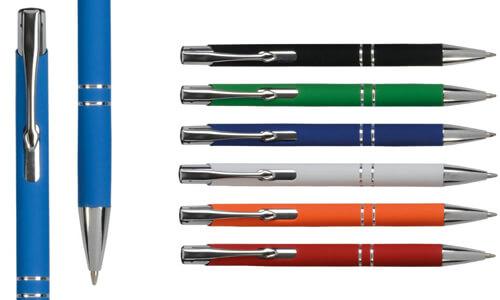 Penna alluminio gommata colorata personalizzabile