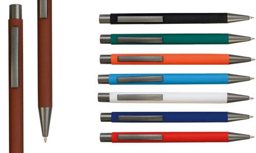 Penna gommata in metallo colorata personalizzabile