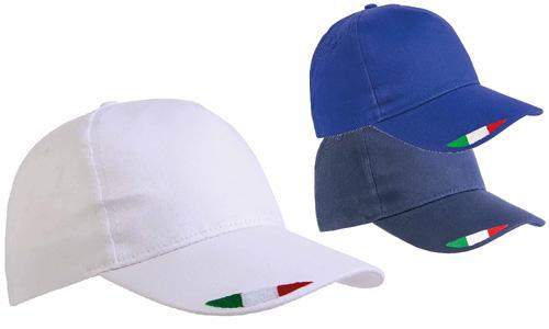 Cappellini in cotone con tricolore su visiera