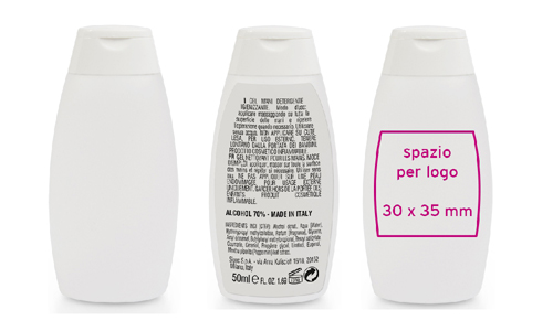 Gel mani igienizzante made in Italy 50 ml promozionali