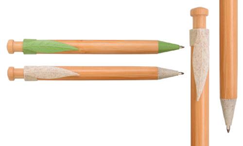 Penna a scatto in bamboo e paglia personalizzabili