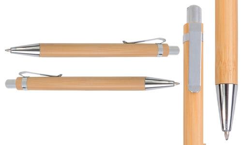 Penna a scatto in bamboo con il tuo logo