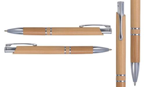 Penna a scatto in bamboo con particolari cromati personalizzate