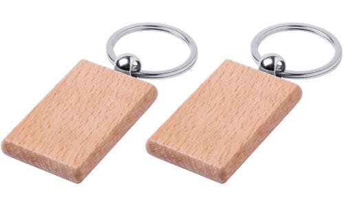 Portachiavi in legno naturale rettangolare Stampa la tua Pubblicità