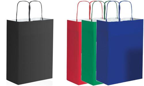 Shopper 28x39x12 in kraft bianca Stampa la tua Pubblicità