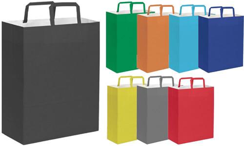 Shopper 19x24x7 carta kraft bianca Stampa la tua Pubblicità