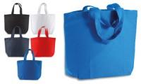 Shopper cotone base con soffietto manico corto