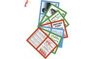 Calendarietto tascabile a libretto in cartoncino plastificato.