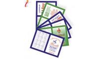Calendarietto-Rubrica tascabile a libretto in cartoncino plastificato.