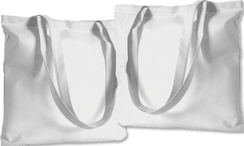 Shopper cotone bianco con manico lungo