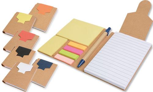 Block notes in carta riciclata e foglietti adesivi