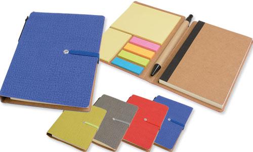 Set Block notes con foglietti adesivi, penna chiusura ad elastico