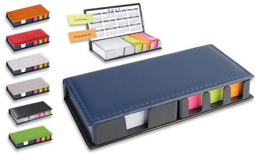 Portacarte da scrivania similpelle con segna pagina adesivi