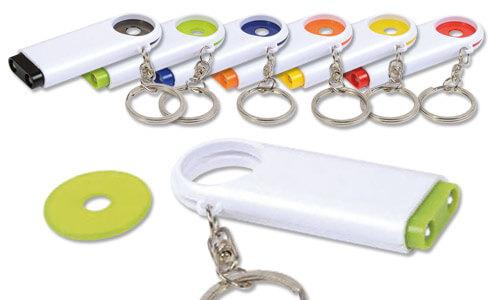 Portachiavi con gettone e luce base bianca