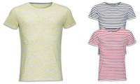T-shirt cotone pettinato e righe intessute