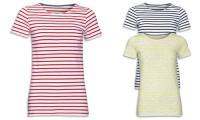 T-shirt donna cotone pettinato e righe intessute