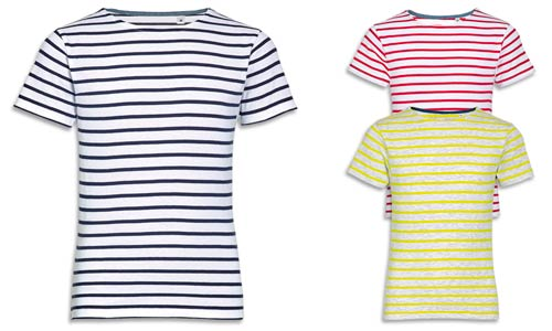T-shirt bambino e bambina, cotone pettinato e righe intessute