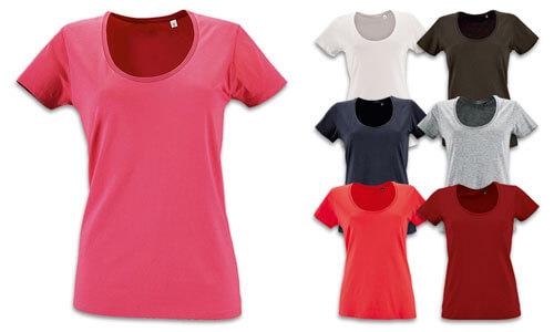 Tshirts donna ampia scollatura, cotone Jersey 150gr.