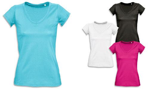 Magliette donna, con bordi a taglio vivo arrotolati