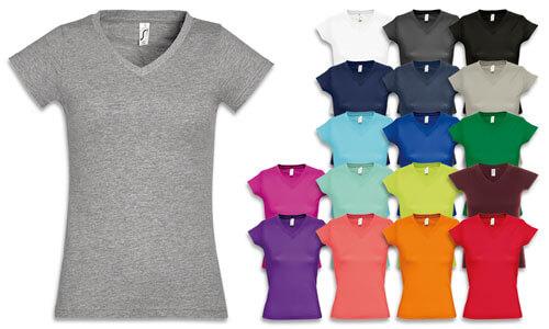 Magliette donna in cotone semi pettinato scollo a V