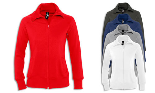Felpa donna collo alto, Full zip